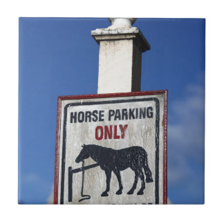 Horse parking only sign tile
