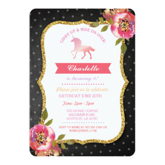 Horse Party Chalk Floral Invite Pony Invitation