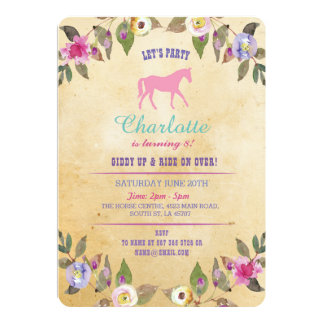 Horse Party Floral Invite Pony Pink Invitation