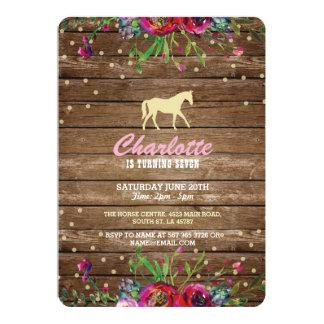 Horse Party Floral Invite Pony Rustic Invitation