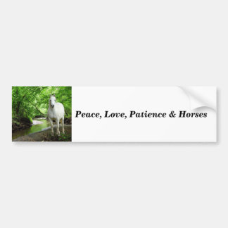 Horse peace love patience Bumper Sticker