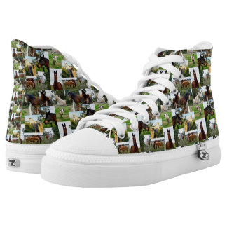 Horse Photo Collage, Zips Hightop Printed Sneakers