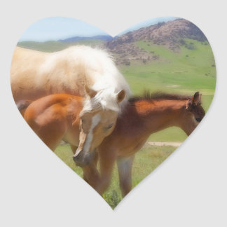 Horse Photo Mare and Foal  Home and Kitchen Decor Heart Sticker