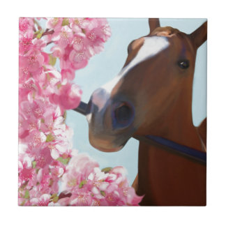 Horse Pink Blossoms Tile