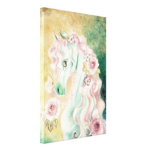 Horse Pink Mane Roses Canvas Prints