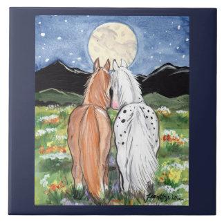 "Horse Pony Moon Romantic 6"" Tile Trivet Art"