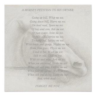 Horse Portrait Poem Petition to Owner Vintage Poster