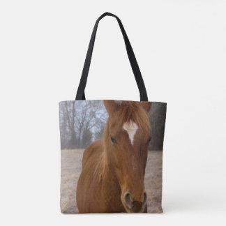 Horse pose tote bag