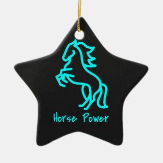 Horse Power in Blue Ceramic Ornament