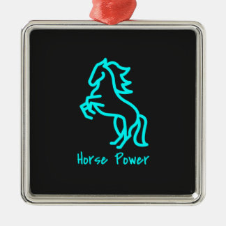 Horse Power in Blue Metal Ornament