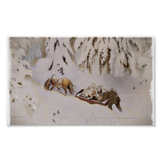 Horse Pulling Sled Through the Woods Poster
