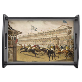 Horse Race 1868 Vintage Serving Tray