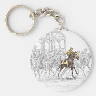 Horse Race Starting Gate Basic Round Button Keychain