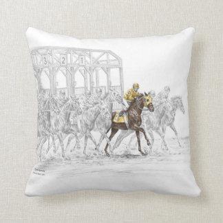 Horse Race Starting Gate Throw Pillow