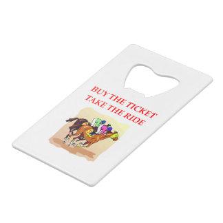 horse racing credit card bottle opener
