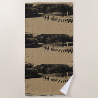Horse Racing Muddy Track Grunge Beach Towel