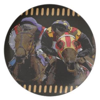 Horse Racing on Film Strip Dinner Plates
