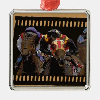 Horse Racing on Film Strip Metal Ornament