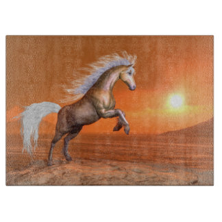 Horse rearing by sunset - 3D render Boards