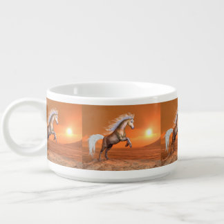 Horse rearing by sunset - 3D render Bowl
