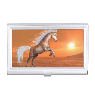 Horse rearing by sunset - 3D render Business Card Holder