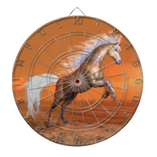 Horse rearing by sunset - 3D render Dartboard
