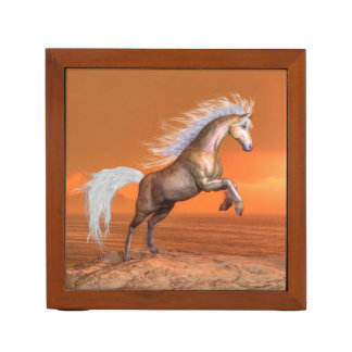 Horse rearing by sunset - 3D render Desk Organizer