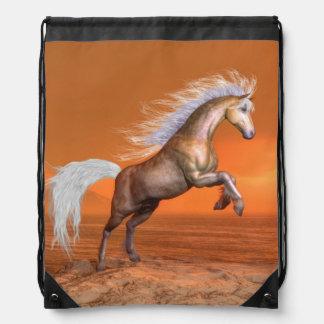 Horse rearing by sunset - 3D render Drawstring Bag