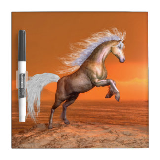 Horse rearing by sunset - 3D render Dry Erase Board