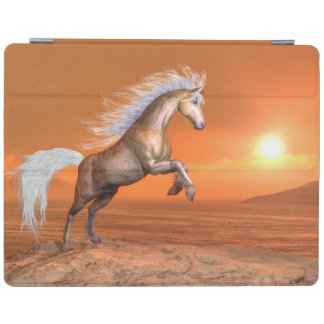 Horse rearing by sunset - 3D render iPad Cover