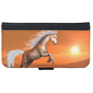 Horse rearing by sunset - 3D render iPhone 6 Wallet Case