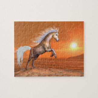 Horse rearing by sunset - 3D render Jigsaw Puzzle