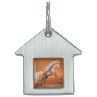 Horse rearing by sunset - 3D render Pet Name Tag