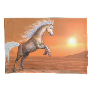 Horse rearing by sunset - 3D render Pillowcase