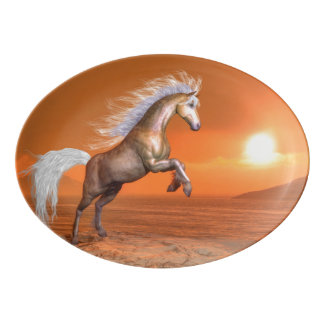 Horse rearing by sunset - 3D render Porcelain Serving Platter