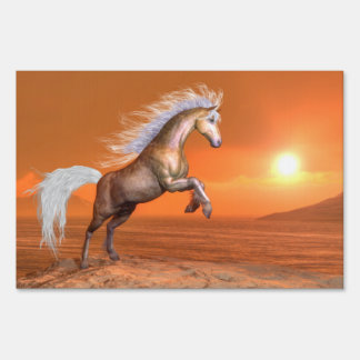 Horse rearing by sunset - 3D render Sign