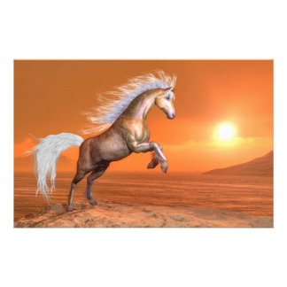 Horse rearing by sunset - 3D render Stationery