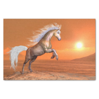 Horse rearing by sunset - 3D render Tissue Paper
