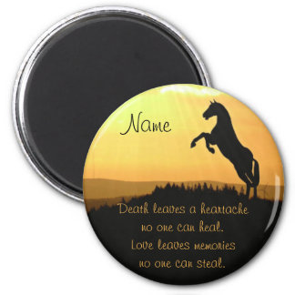 Horse Rearing Silhouette At Sunrise 2 Inch Round Magnet