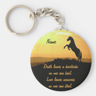 Horse Rearing Silhouette At Sunrise Basic Round Button Keychain
