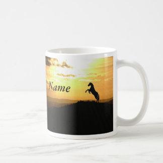 Horse Rearing Silhouette At Sunrise Coffee Mug
