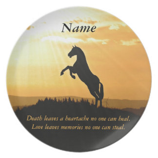 Horse Rearing Silhouette At Sunrise Dinner Plate