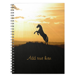 Horse Rearing Silhouette At Sunrise Spiral Note Books