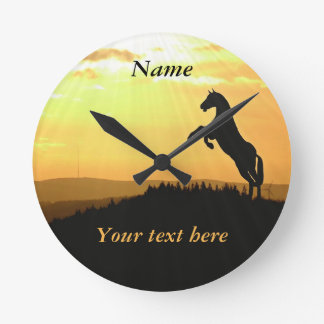 Horse Rearing Silhouette At Sunrise Wall Clock