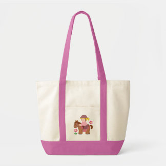 Horse riding blond hair, brown horse tote bag