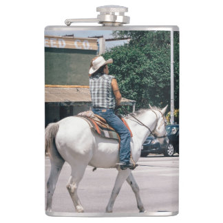 Horse Riding on South Congress Ave Hip Flask