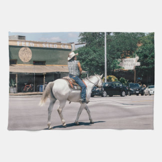 Horse Riding on South Congress Ave Kitchen Towel