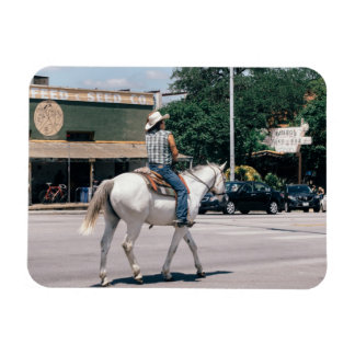 Horse Riding on South Congress Ave Rectangular Photo Magnet