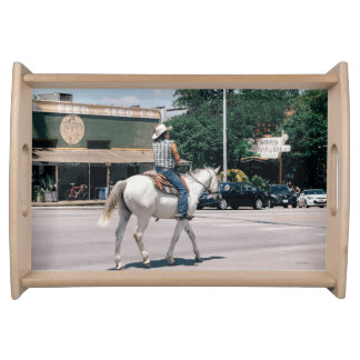 Horse Riding on South Congress Ave Serving Tray