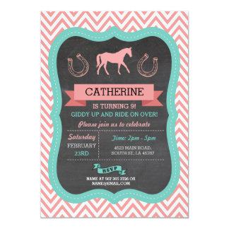 Horse Riding Party Invite Chevron Pony Invitation